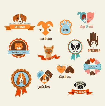 druckerei: Haustiere Vektor-Icons - Katzen und Hunde