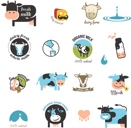 Milk and cow Labels, elements and icons Vector