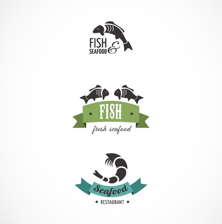 salmon fishing: Fish icons and elements Illustration