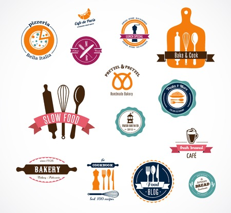 pastry chef: Collection of vintage bakery and cooffee shops badges and labels