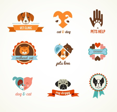 pets: Pets vector icons - cats and dogs Illustration