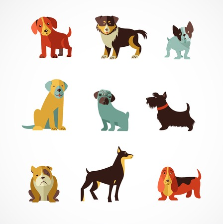 Honden vector set van pictogrammen en illustraties