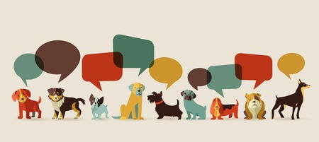 dog walking: Dogs with speech bubbles - vector set of icons and illustrations Illustration