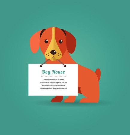 dog tag: Dog holding sign - vector set of icons and illustrations