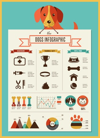dog walking: Dogs infographics - vector illustration and icon set Illustration