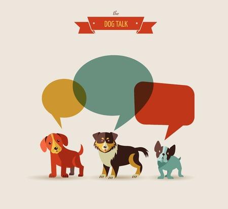 yürüyüş: Konuşma baloncukları ile Köpekler - simgeler ve resimlerin vektör seti Çizim