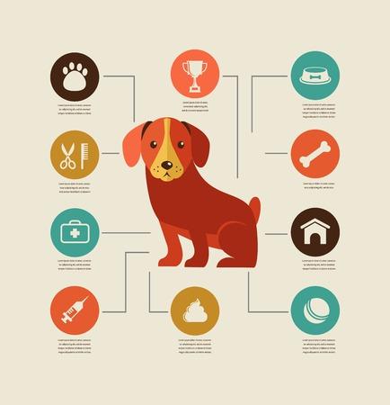 犬のインフォ グラフィック - ベクター グラフィックとアイコンを設定  イラスト・ベクター素材