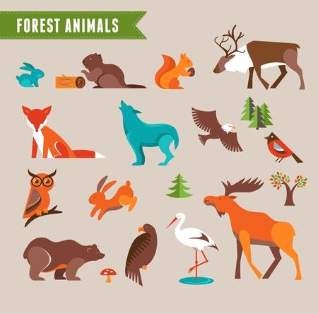 Dieren in het bos vector set van iconen en illustraties Stock Illustratie