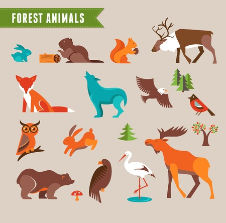 Forest animals vector set of icons and illustrations Иллюстрация