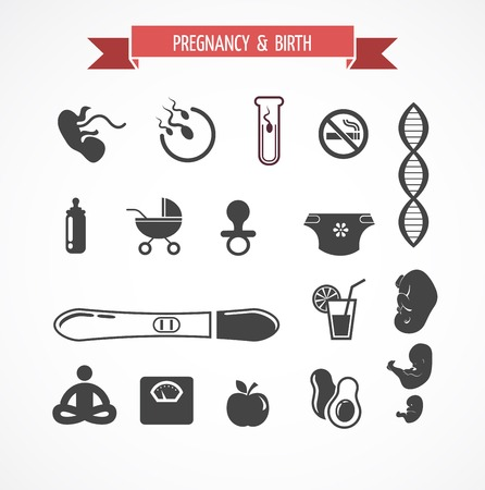 human sperm: Pregnancy and birth icon vector set