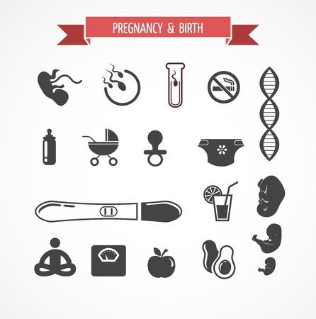 pregnancy yoga: Pregnancy and birth icon vector set