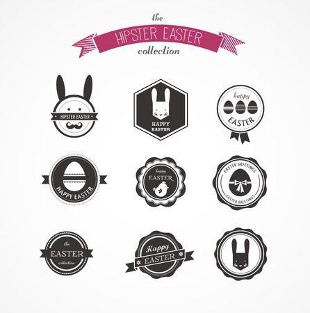 Happy Hipster Easter - set of labels, elements and icons set Vector
