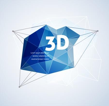 Polygonale géométrique, vecteur de l'impression 3D, fond abstrait