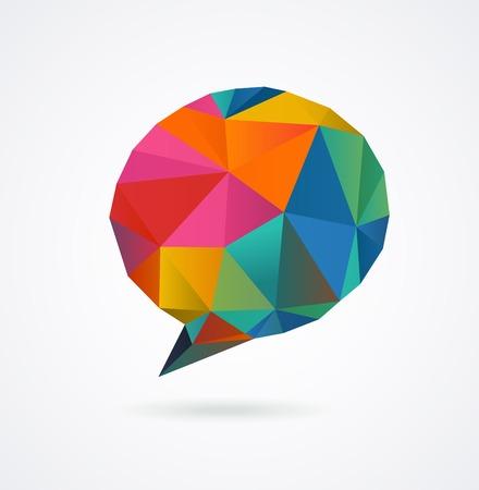 icosahedron: Polygonal geometric, vector 3D speech bubble background Illustration