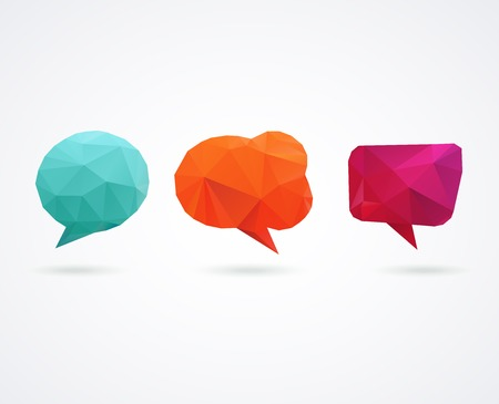 Polygonal geometric, vector 3D speech bubbles colorful set Vector