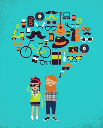 Hipster info graphic vector background Illustration