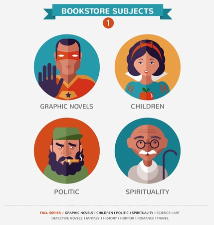 12 Bookstore subjects, flat vector icons, avatars and characters Stock Vector - 27443289