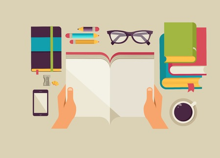 desktop with open book, book stock, coffee, set of flat vector icons Illustration