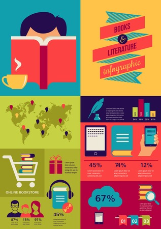 magazine stack: Reading books infographics, set of flat vector icons