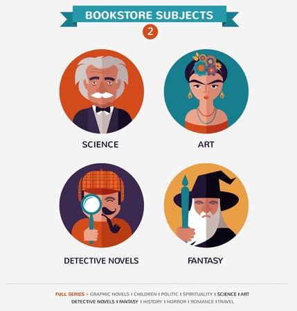 magazine stack: 12 Bookstore subjects, flat vector icons, avatars and characters Illustration