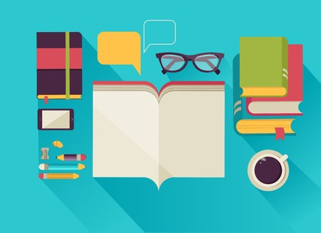 magazine stack: desktop with open book, book stock, coffee, set of flat vector icons Illustration