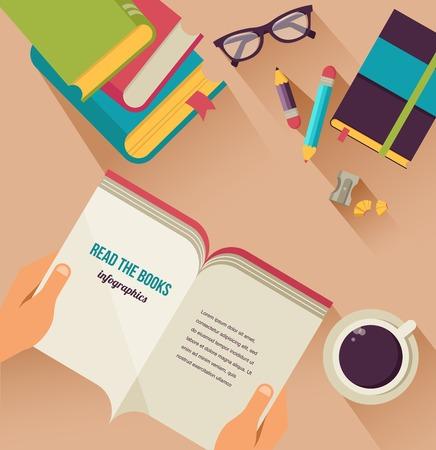 lectura: escritorio con el libro abierto, libro stock, café, conjunto de iconos vectoriales plana Vectores