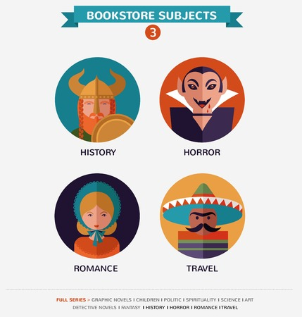 12 Bookstore subjects, flat vector icons, avatars and characters Stock Vector - 27443296