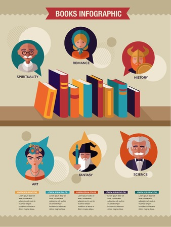 Reading books infographics, set of flat vector icons Stock Vector - 27443297