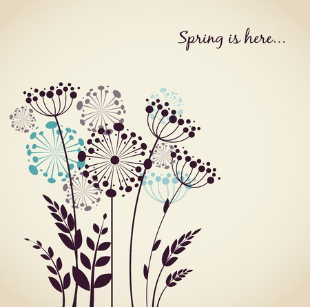 Spring dandelion flowers - vector background Vector