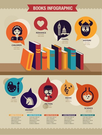 book cover design: Reading books infographics, set of flat vector icons