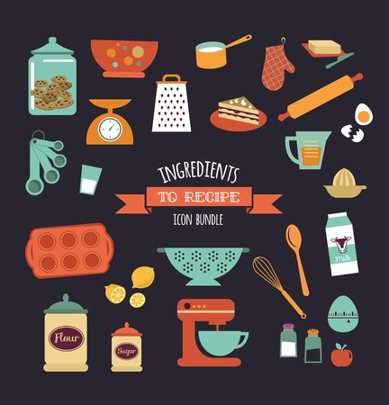 scrap book: Chalkboard meal recipe template vector design with food icons and elements