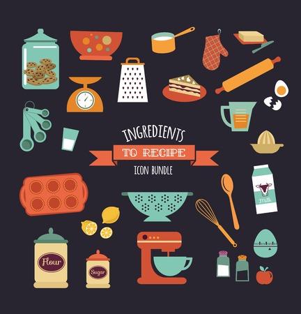 Receta de comida diseño de la plantilla vector Pizarra con iconos de alimentos y elementos Ilustración de vector