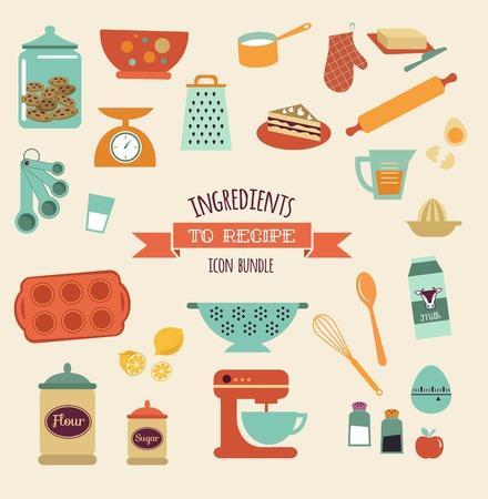 cocina caricatura: recetas y cocina de diseño de vectores e iconos, elementos establecidos