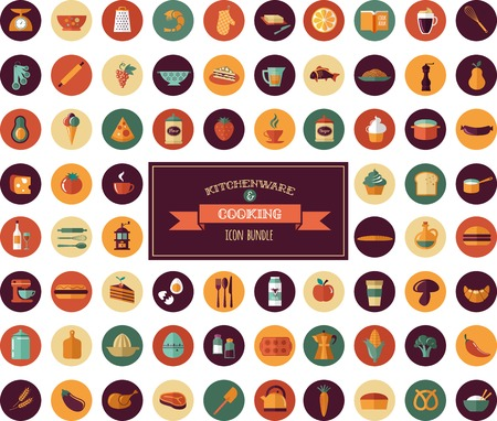 vegatables: Cooking & Backing flat icons, Kitchenware vector elements