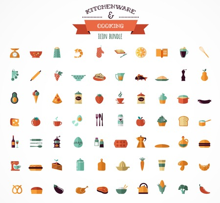 continental food: Cooking & Backing flat icons, Kitchenware vector elements