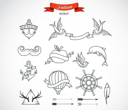 golondrinas: Conjunto de elementos modernos de arte del tatuaje blanco y negro - diseño vectorial