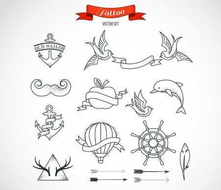 tattoo traditional: Set of modern black and white Tattoo Art elements - vector design