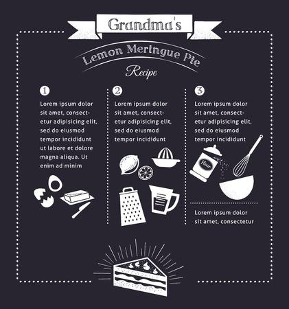 Krijtbord maaltijd recept sjabloon vector design met voedsel pictogrammen en elementen