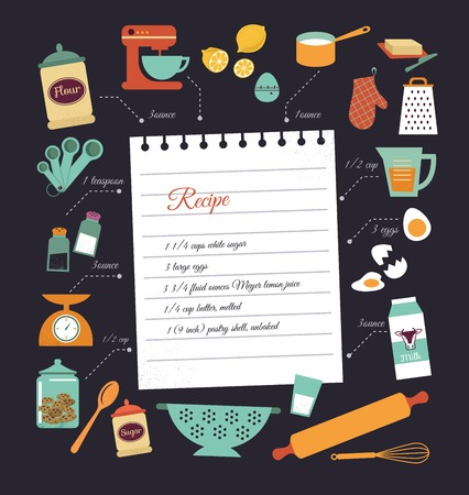 recipe book: Chalkboard meal recipe template vector design with food icons and elements