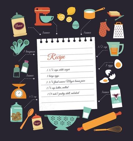 chef caricatura: Receta de comida dise�o de la plantilla vector Pizarra con iconos de alimentos y elementos