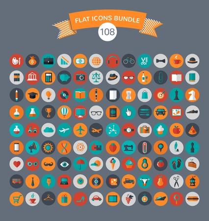 Enorme raccolta di icone vettoriali piatte con colori moderni di viaggio, il marketing, pantaloni a vita bassa, scienza, istruzione, affari, soldi, shopping, oggetti, cibo Archivio Fotografico - 27906373