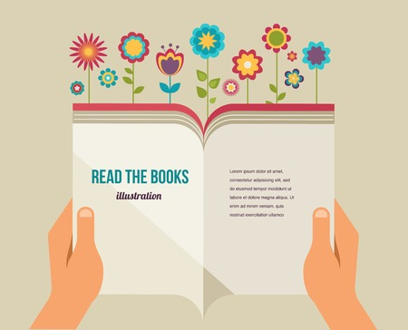 Open book with flowers, flat vector icons Иллюстрация