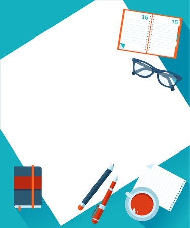 Business background with coffee, paper, notebook, glasses, vector illustration Stock Vector - 28396674