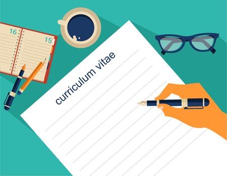 hoja de vida: Fondo de negocio con cv, curriculum vitae, trabajo y encuentro el tema, ilustración vectorial