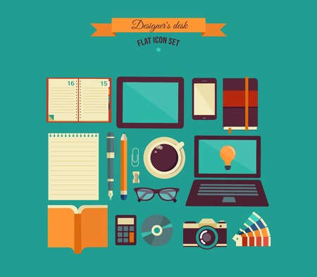 desktop with open book, calendar, computer, camera, coffee, notebook, set of flat vector icons