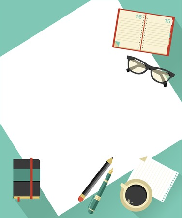 financial advisors: Business background with coffee, paper, notebook, glasses, vector illustration