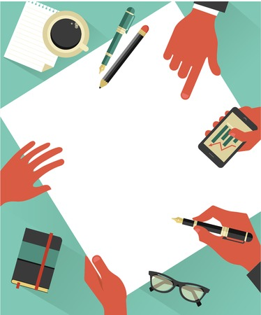 Business meeting background with hands, paper, notebook, glasses, vector illustration Stock Vector - 28396690