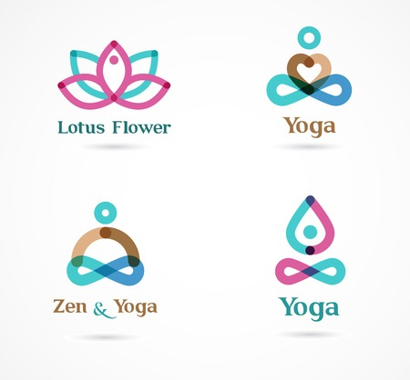 Collection of yoga, zen, meditation icons, colorful elements and symbols Vector