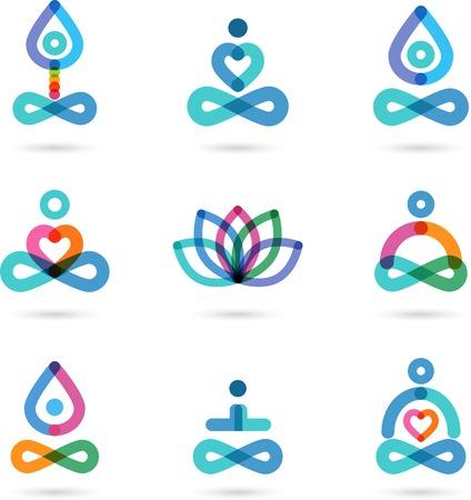 Sbírka jóga, zen, meditační ikony, barevné prvky a symboly