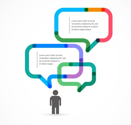 idea bubble: Speech bubble concept background and infographic with man